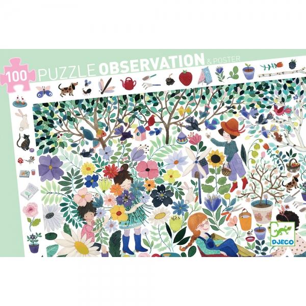 Купить Пазлы на наблюдательность - Цветочный сад, 100 деталей, Djeco