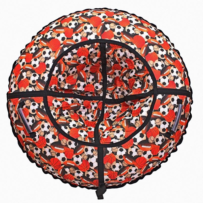 Санки надувные тюбинг с дизайном Футбольные мячи, диаметр 118 см.