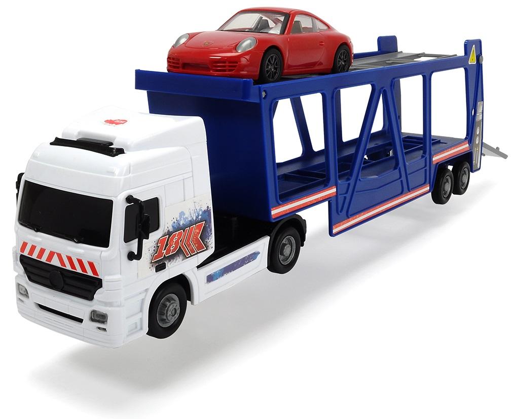 Купить Трейлер автовоз фрикционный с машинкой Porsche, 38 см., 1:43, Dickie Toys