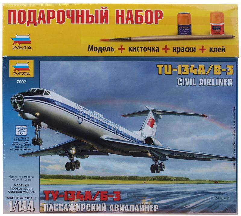 Подарочный набор. Модель для склеивания - Пассажирский Авиалайнер Ту-134А/Б-3Модели самолетов для склеивания<br>Подарочный набор. Модель для склеивания - Пассажирский Авиалайнер Ту-134А/Б-3<br>