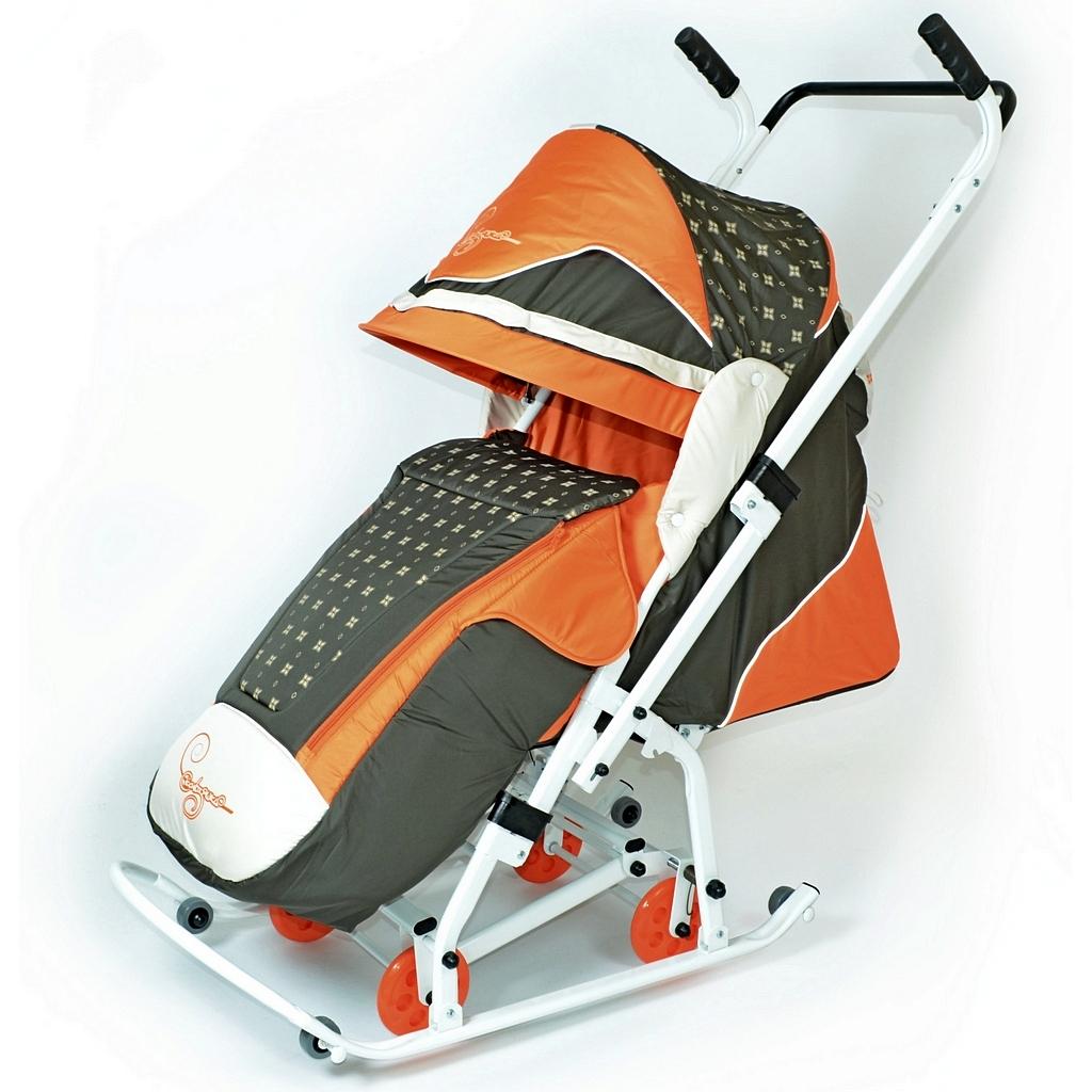 Купить Санки-коляска Скользяшки – Мозаика, цвет оливковый-оранжевый-светло-бежевый, RT