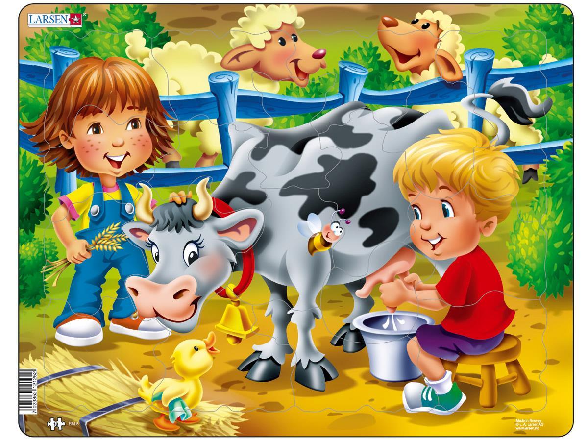 Пазл - Дети на ферме. Корова, 18 деталей