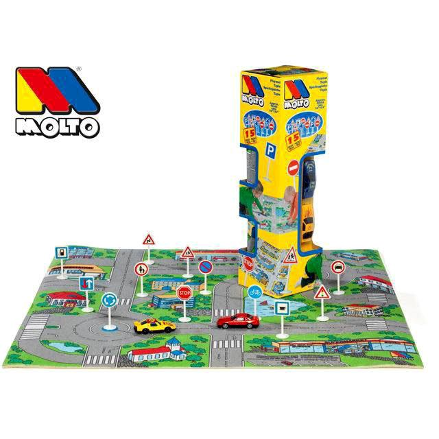 Игровой коврик с дорожными знаками и 2 машинкамиДетские парковки и гаражи<br>Игровой коврик с дорожными знаками и 2 машинками<br>
