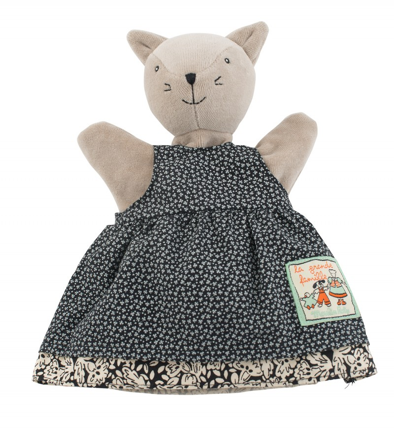 Купить Мягкая игрушка на руку – кошка Агата, 25 см., Moulin Roty