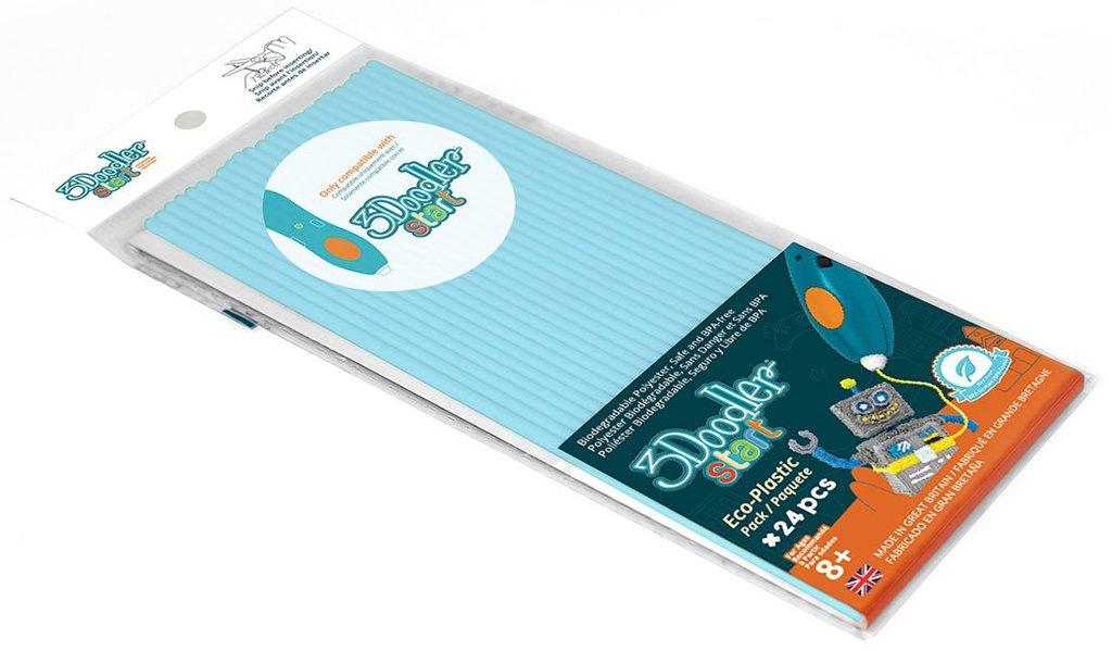 Эко-пластик к 3Д ручке 3Doodler Start, цвет голубой, 24 штуки фото