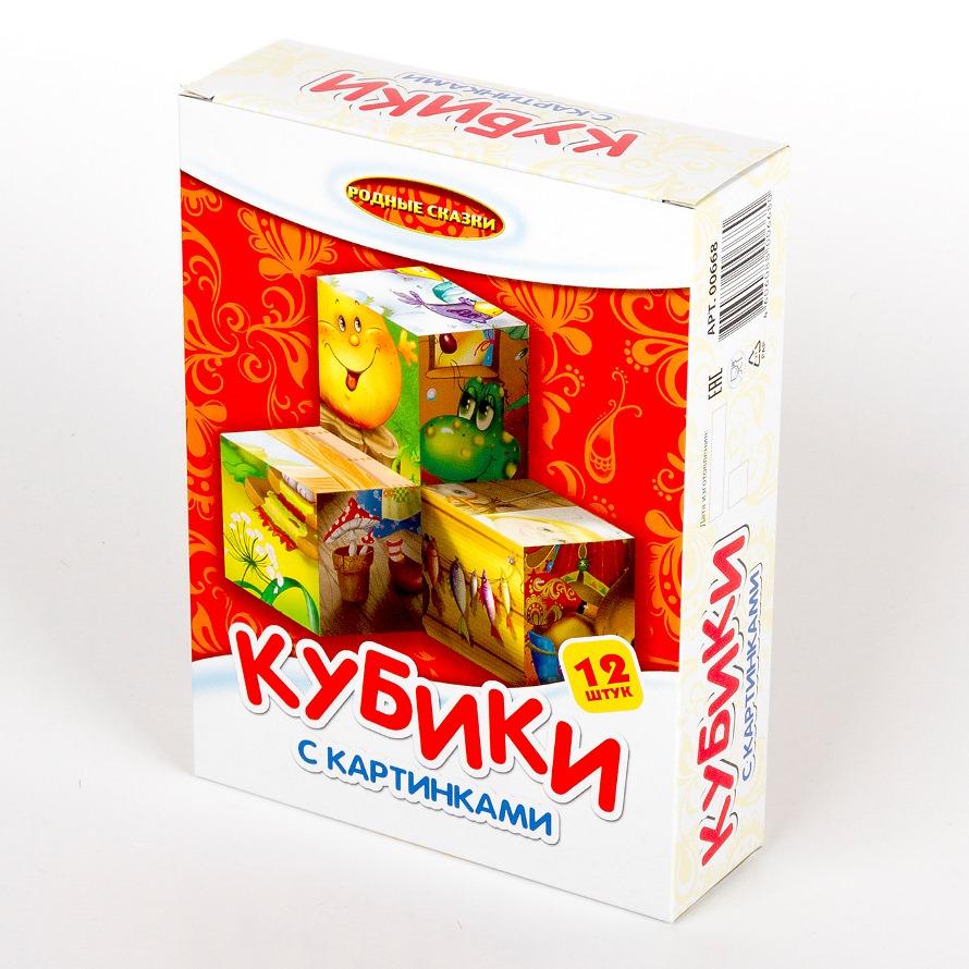 Кубики с картинками - Родные сказки, 12 штукКубики<br>Кубики с картинками - Родные сказки, 12 штук<br>