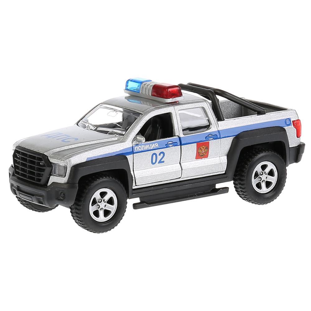 Купить Машина металлическая Пикап Полиция 13, 3 см., свет и звук, открываются двери, инерционная, Технопарк