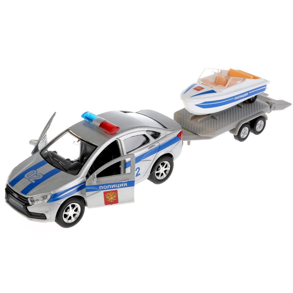 Купить Машинка металлическая инерционная Lada Vesta Полиция, открываются двери, с лодкой, 12 см, Технопарк