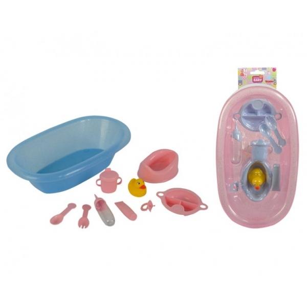 Ванночка и аксессуары для купания куколНаборы для кормления и купания пупса<br>Набор для купания кукол двух цветов на выбор, розовая с мерцающими блестками и нежно голубенькими аксессуарами или голубенькая с розовыми аксессуарами.<br>Все для того, чтобы помыть, намазать кремом, накормить, посадить на горшочек, и одеть в подгузник, люб...<br>