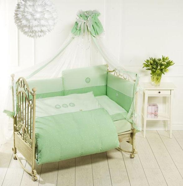 Комплект постельного белья Lucky Stars, 6 предметов, зеленыйДетское постельное белье<br>Комплект постельного белья Lucky Stars, 6 предметов, зеленый<br>
