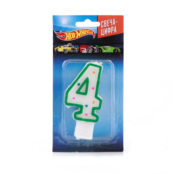 Купить Свеча-цифра «4» - Hot Wheels, Веселый праздник