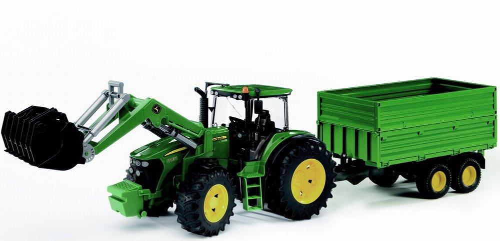 Трактор Bruder John Deere 7930 с погрузчиком и прицепомИгрушечные тракторы<br>Трактор Bruder John Deere 7930 с погрузчиком и прицепом<br>