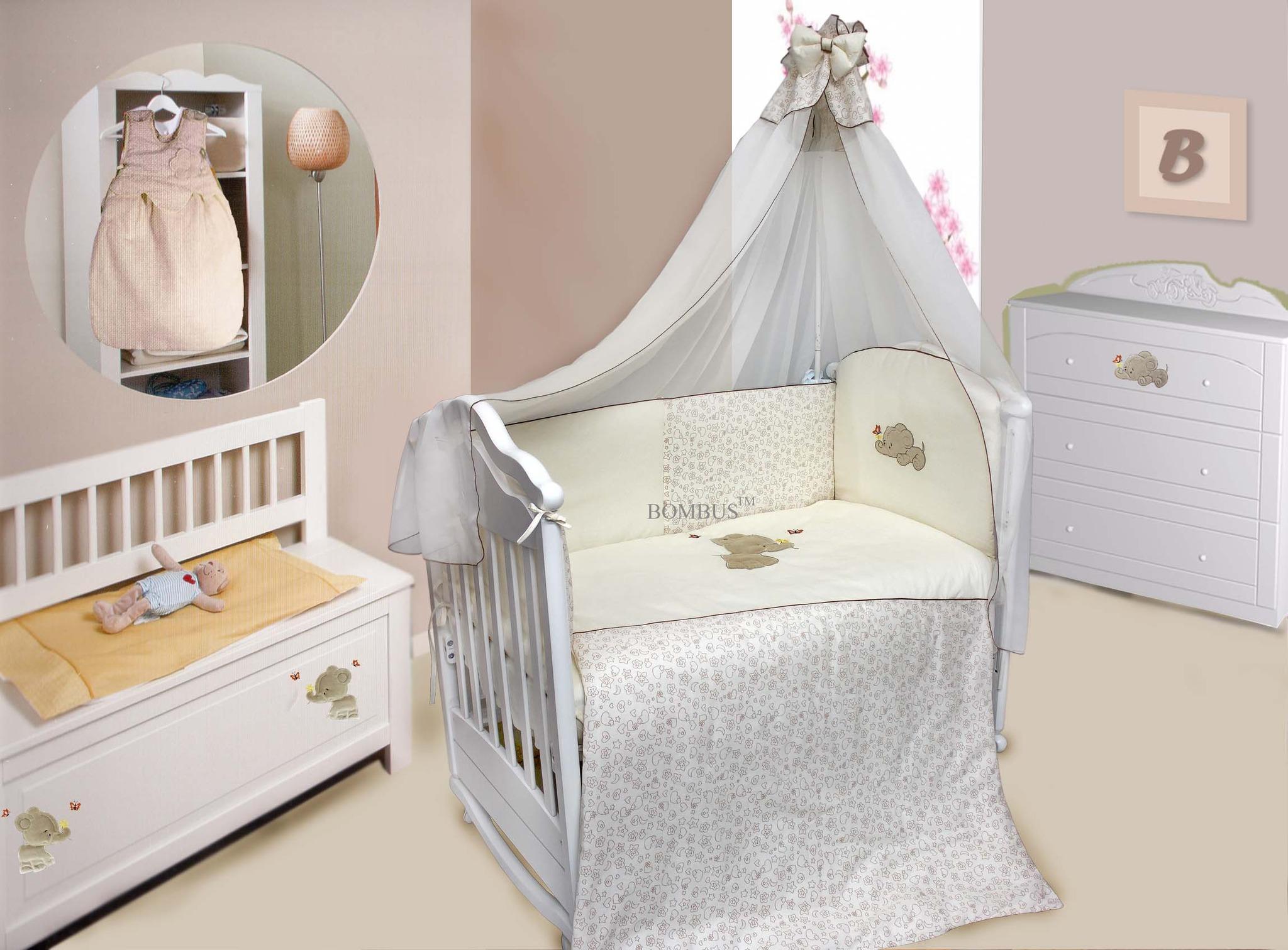 Комплект в кроватку - Милый слоник, 7 предметовДетское постельное белье<br>Комплект в кроватку - Милый слоник, 7 предметов<br>