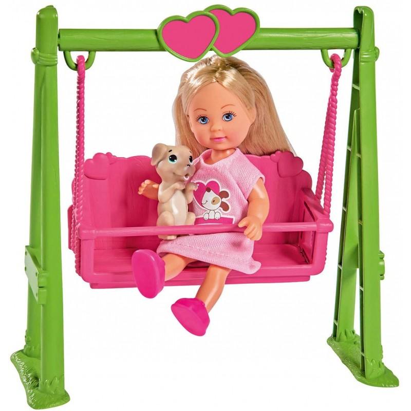Купить Кукла Еви 12 см на качели с собачкой, Simba