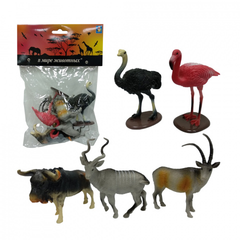 Купить Набор В мире животных – Дикие животные Африки, 5 штук, 1TOY