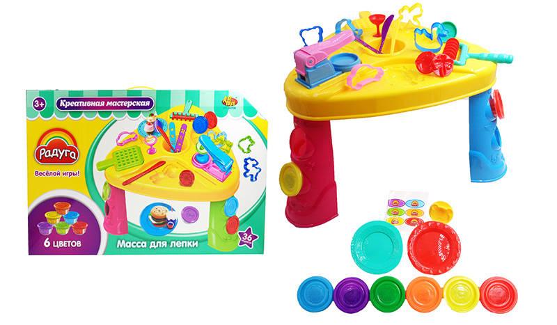 Купить Набор - Креативная мастерская, 6 баночек массы для лепки разных цветов, стол и тематические аксессуары, 36 предметов, ABtoys