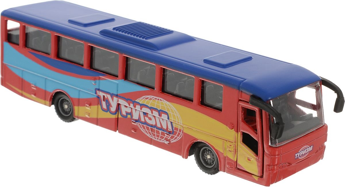 Инерционная металлическая модель - Рейсовый автобус, 15 смАвтобусы, трамваи<br>Инерционная металлическая модель - Рейсовый автобус, 15 см<br>