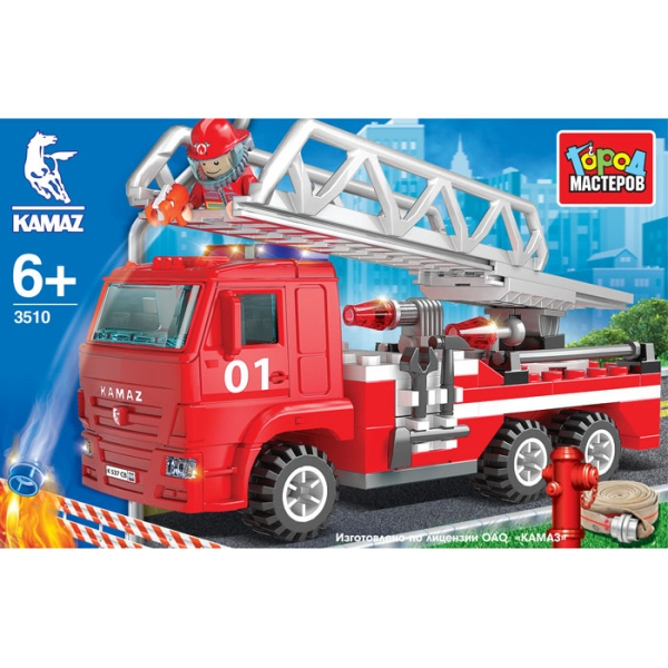 Конструктор - Камаз: Пожарная машина с лестницейГород мастеров<br>Конструктор - Камаз: Пожарная машина с лестницей<br>