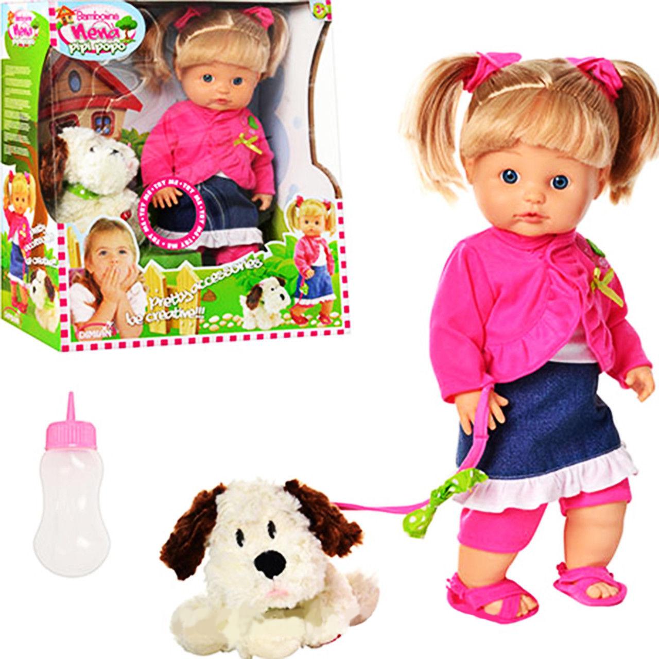 Кукла Bambolina с собачкой - Nena, 42 см, пьет, писаетПупсы<br>Кукла Bambolina с собачкой - Nena, 42 см, пьет, писает<br>