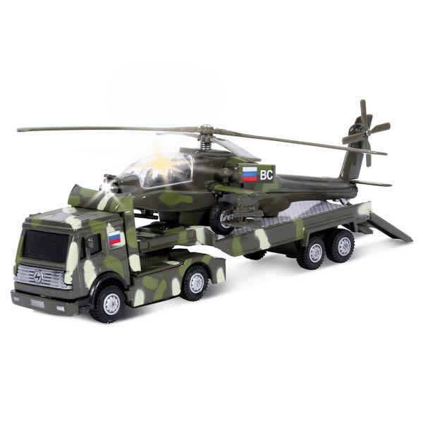 Трейлер Военный с вертолетом, металлический, инерционный, свет и звукВертолеты<br>Трейлер Военный с вертолетом, металлический, инерционный, свет и звук<br>