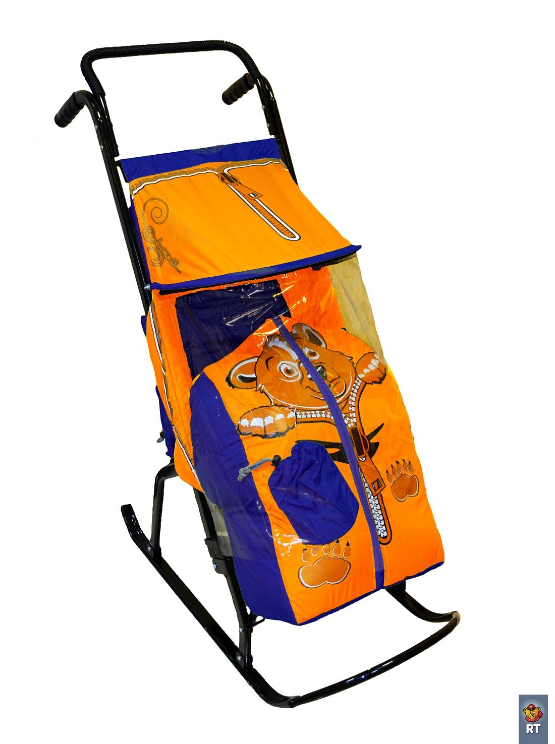 Купить Санки-коляска - Снегурочка-2-Р – Медвежонок, цвет синий-оранжевый, RT