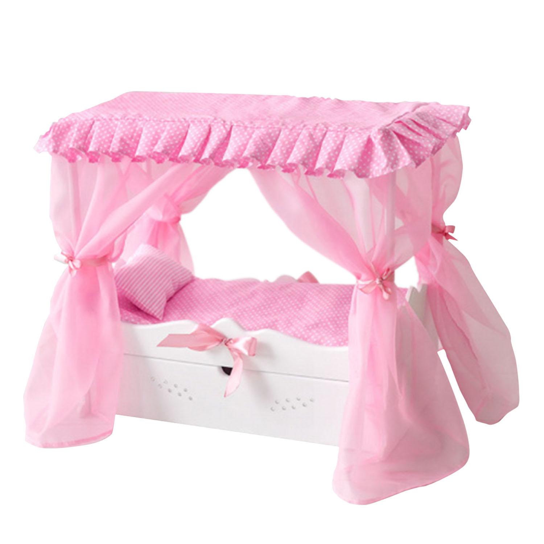 Купить Кровать с выдвижным ящиком для кукол с постельным бельем и балдахином, цвет белый, Paremo