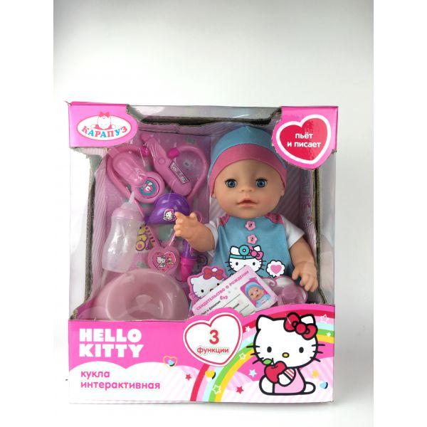 Пупс из серии Hello Kitty 30 см., 3 функции, пьет и писает, закрывает глазкиКуклы Карапуз<br>Пупс из серии Hello Kitty 30 см., 3 функции, пьет и писает, закрывает глазки<br>