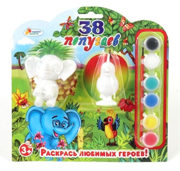 Набор-раскраска MULTIART 2 фигурки Слон и ПопугайНаборы для рисования<br>Набор-раскраска MULTIART 2 фигурки Слон и Попугай<br>