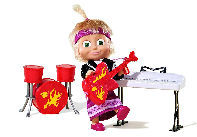 Маша в рок-наряде с гитарой, синтезатором и барабанамиМаша и медведь игрушки<br>Маша в рок-наряде с гитарой, синтезатором и барабанами<br>