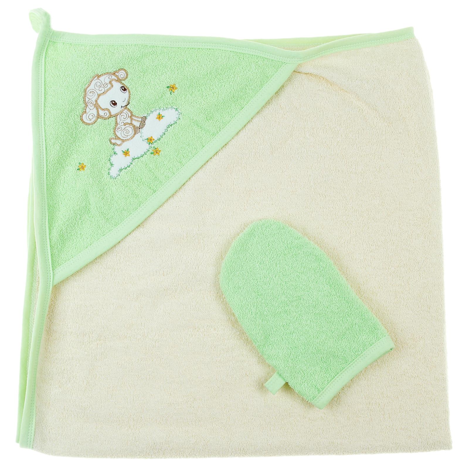 Пеленка-полотенце с варежкой – Веселые овечки, желтыйПолотенца и халаты<br>Пеленка-полотенце с варежкой – Веселые овечки, желтый<br>