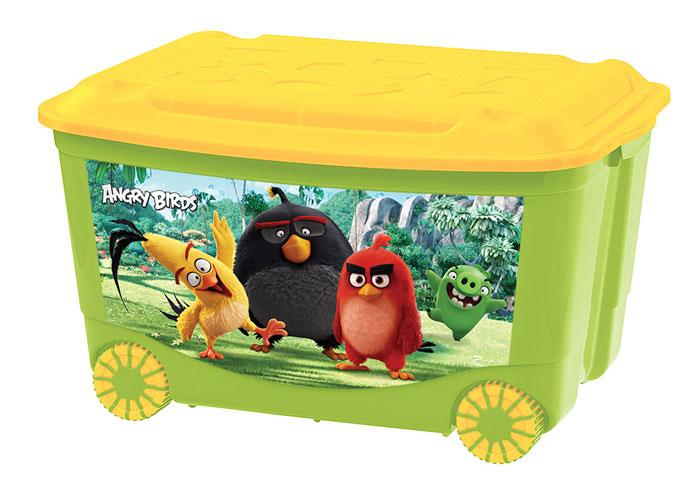 Ящик для игрушек на колесах с аппликацией  - Angry BirdsКорзины для игрушек<br>Ящик для игрушек на колесах с аппликацией  - Angry Birds<br>