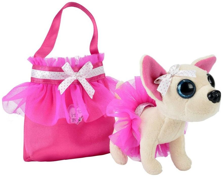 Плюшевая собачка Chi Chi Love - Чихуахуа, в балетной пачке, с розовой сумочкой, 15 смChi Chi Love - cобачки в сумочке<br>Плюшевая собачка Chi Chi Love - Чихуахуа, в балетной пачке, с розовой сумочкой, 15 см<br>