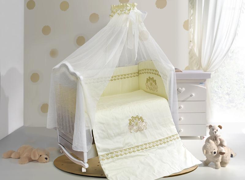 Комплект постельных принадлежностей – Инфанта, 7 предметов, цвет - бежевыйДетское постельное белье<br>Комплект постельных принадлежностей – Инфанта, 7 предметов, цвет - бежевый<br>