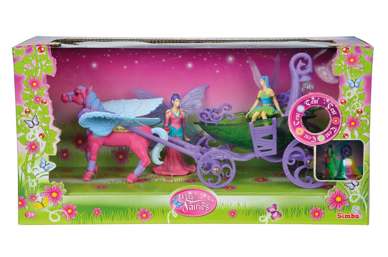 Лошадка с каретой и 2 феями, со световыми эффектами от Toyway