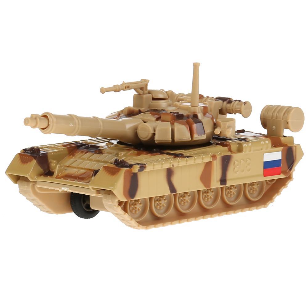 Купить Tанк металлический T-90, инерционный, подвижные детали, 12 см, Технопарк
