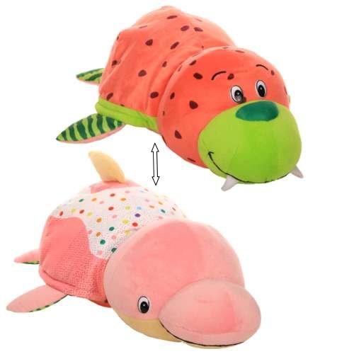 Купить Плюшевая игрушка из серии Вывернушка Ням-Ням 2-в-1 Морж с ароматом арбуза-Дельфин с ароматом пончика с кондитерской обсыпкой, 40 см., 1TOY