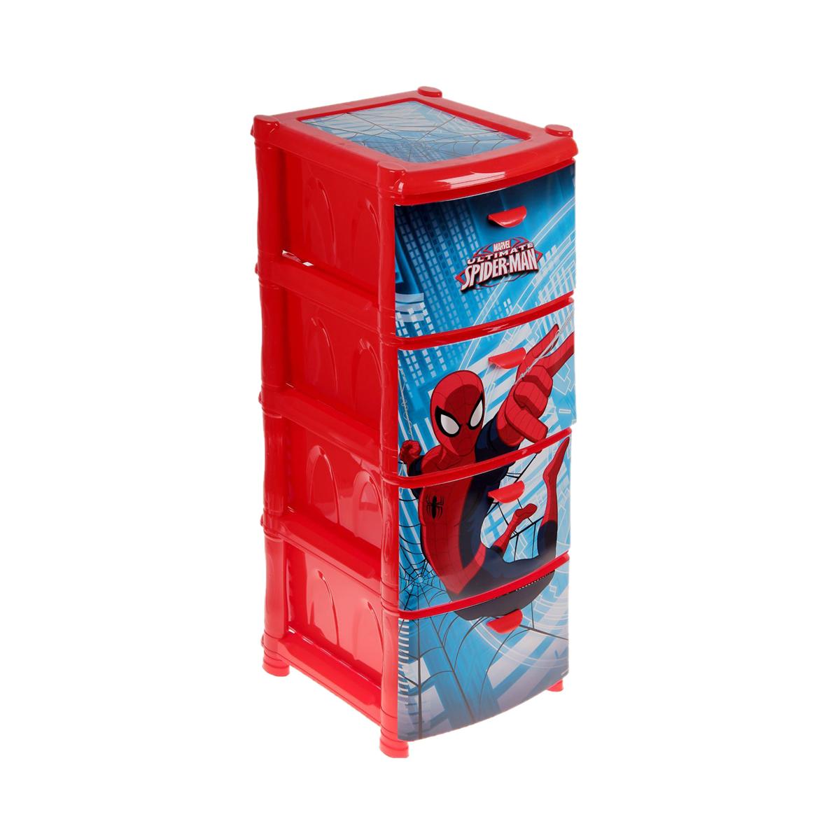 Комод Человек-паук, 4 секции, красныйКорзины для игрушек<br>Комод Человек-паук, 4 секции, красный<br>