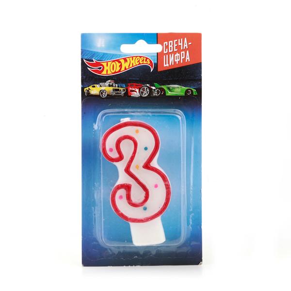 Купить Свеча-цифра 3 серии Hot Wheels, на блистере, Веселый праздник