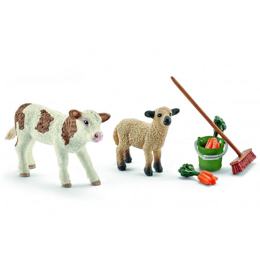 Набор по уходу за животными с теленком и ягненкомНа ферме (Farm life)<br>Набор по уходу за животными с теленком и ягненком<br>