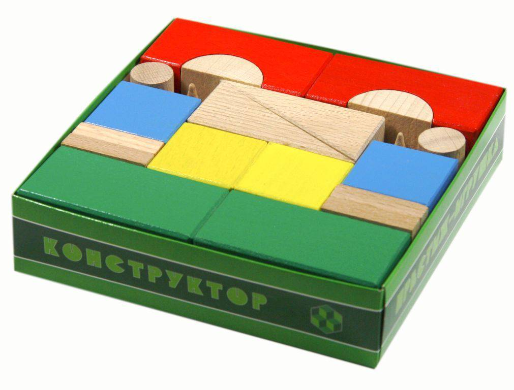 Конструктор деревянный цветной 30 деталей, в картонной упаковке в термопленкеКубики и конструкторы<br>Конструктор деревянный цветной 30 деталей, в картонной упаковке в термопленке<br>
