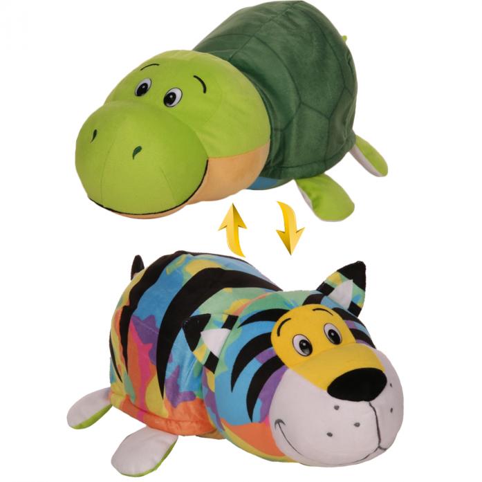 Купить Мягкая игрушка из серии Вывернушка 2в1 Радужный тигр-Черепашка, 40 см., 1TOY
