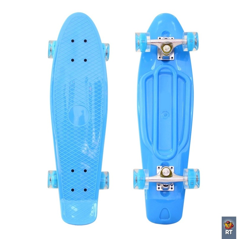 Купить 171201 Скейтборд Classic 22 YQHJ-11 со светящимися колесами, цвет голубой, RT