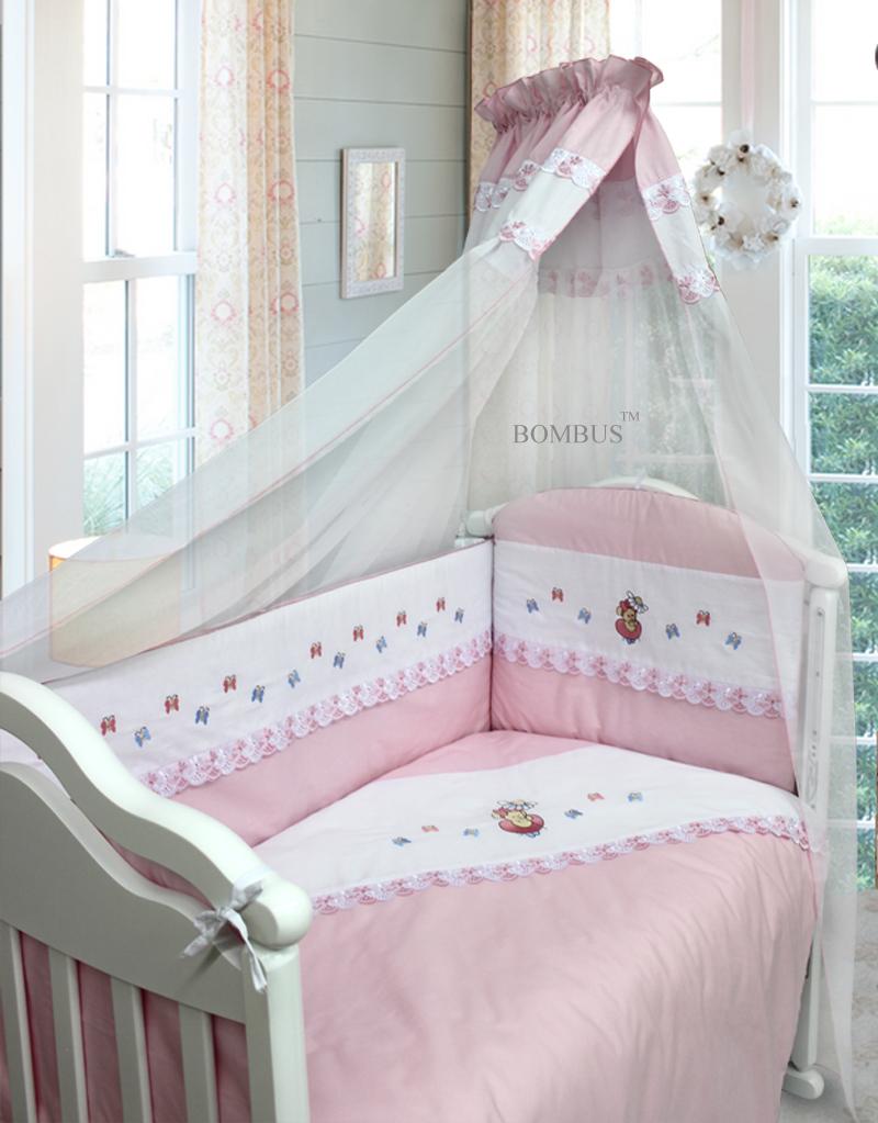 Комплект в кроватку - Ксюша, 7 предметов, розовыйДетское постельное белье<br>Комплект в кроватку - Ксюша, 7 предметов, розовый<br>