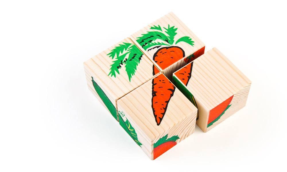 Купить со скидкой Набор из 4-х кубиков - Овощи из серии Собери картинку