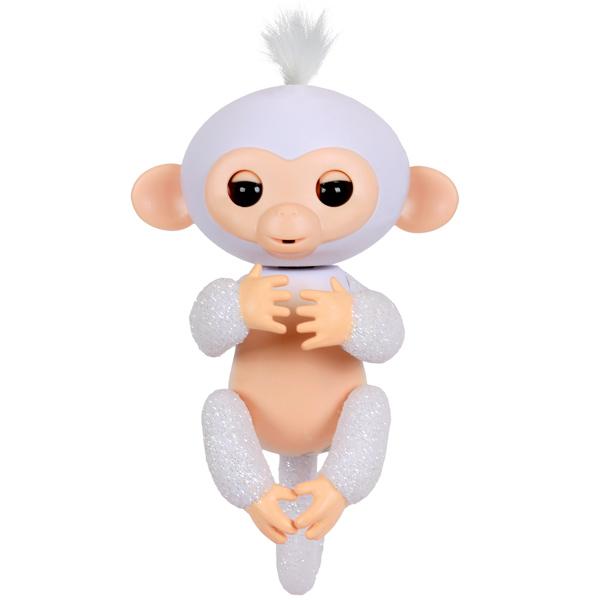 Купить Интерактивная обезьянка Fingerlings – Шугар, белая, 12 см, звук, WowWee