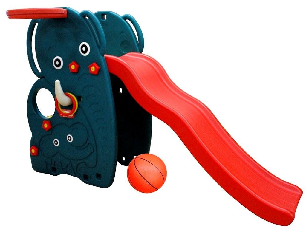 Горка-волна Слон с баскетбольным кольцом и мячомДетские игровые горки<br>Горка-волна Слон с баскетбольным кольцом и мячом<br>