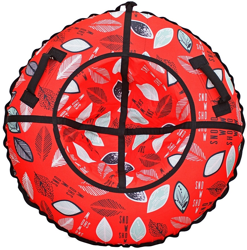 Санки надувные - Тюбинг RT - Разноцветные листья на красном, диаметр 118 см