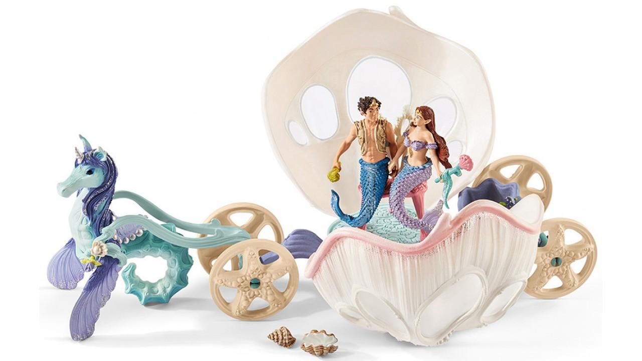 Купить Игровой набор - Королевская ракушка-карета с русалками, Schleich
