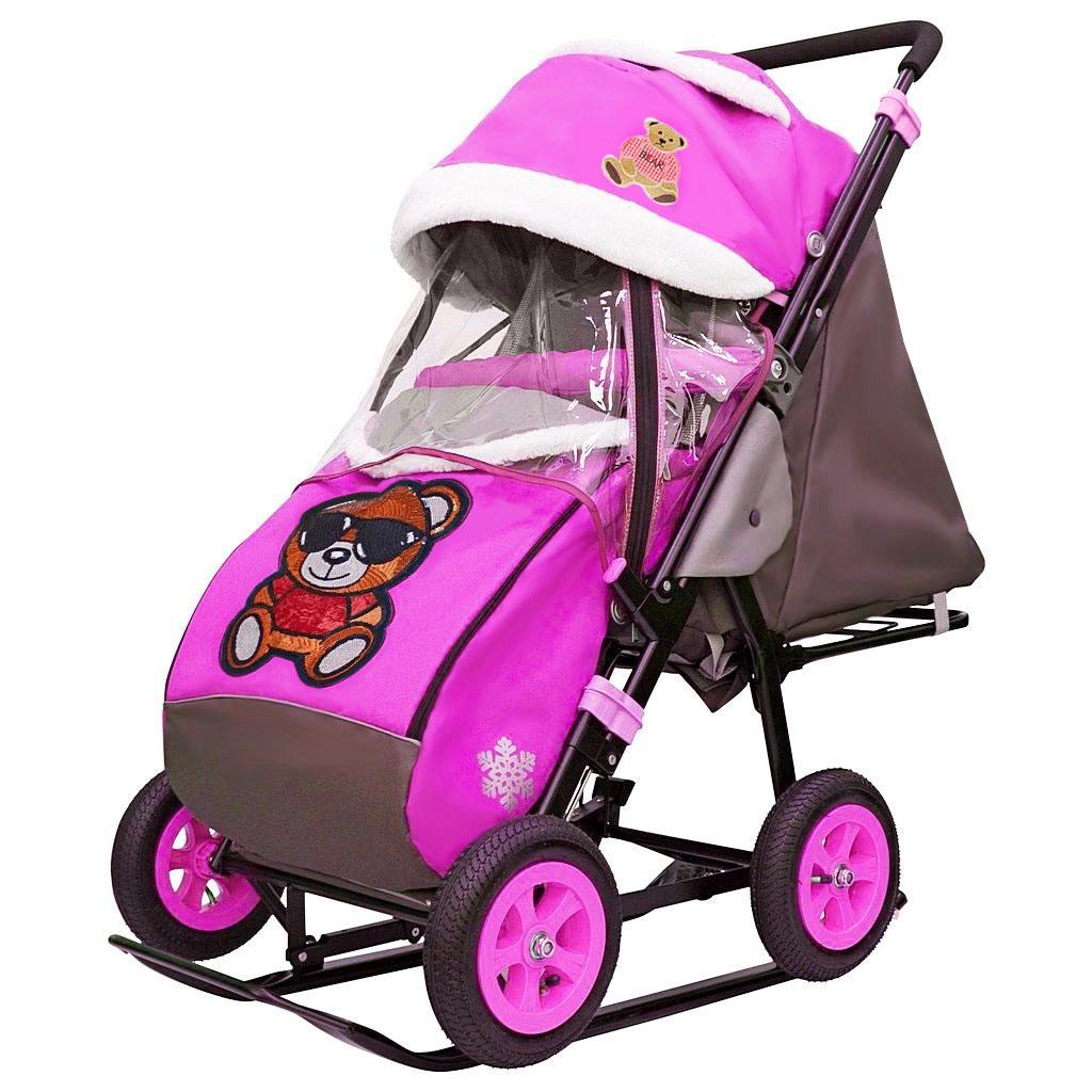 Санки-коляска Snow Galaxy - City-1-1 - Мишка в красной футболке в очках, цвет розовый на больших надувных колесах, сумка, варежки
