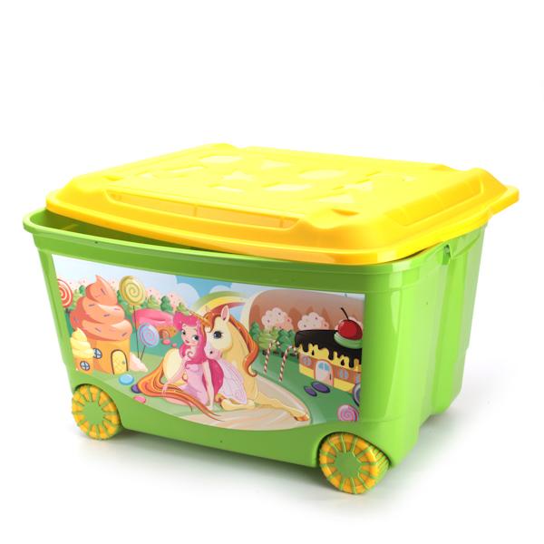 Ящик для игрушек на колесах, с аппликацией, цвет зеленыйКорзины для игрушек<br>Ящик для игрушек на колесах, с аппликацией, цвет зеленый<br>